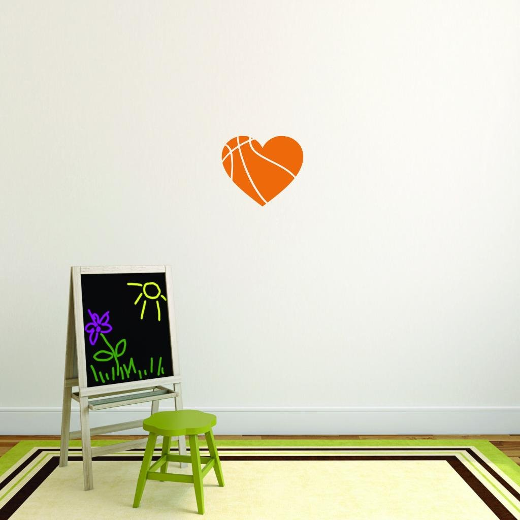 Heart Basketball Sports Quote Text Lettering Boy Girl Kids Teen Men Women Color Design with Vinyl Moti 2707 4 Decal Wall Sticker As Seen Size 20 Inches x 20 Inches