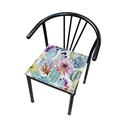"Bardic HNTGHX Outdoor/Indoor Chair Cushion Tropical Cactus Flower Painting Square Memory Foam Seat Pads Cushion for Patio Dining, 16"" x 16"": Home & Kitchen"