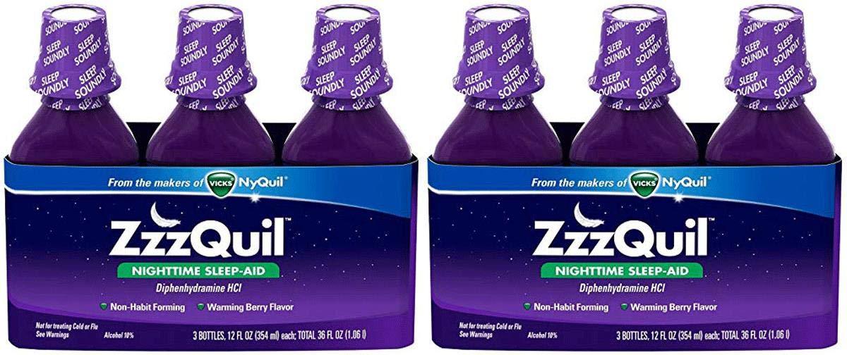 ZzzQuil ZNZDYYQK Nighttime Sleep-Aid - Berry Flavor - 12 fl. Oz, 2 Pack of 3