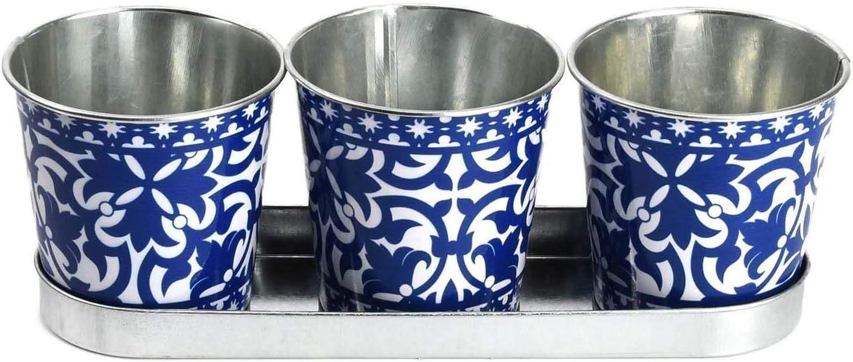 Ideal para Hierbas Fallen Fruits 3 macetas Decorativas portuguesas en Bandeja Azul y Blanco