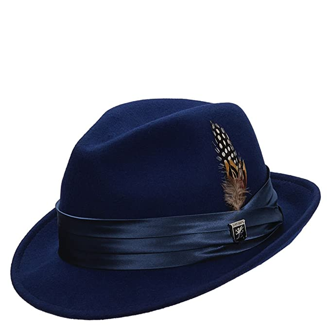 Stacy Adams hombre Comprimible De Fieltro De Lana (Ala Fedora Sombrero Azul azul real