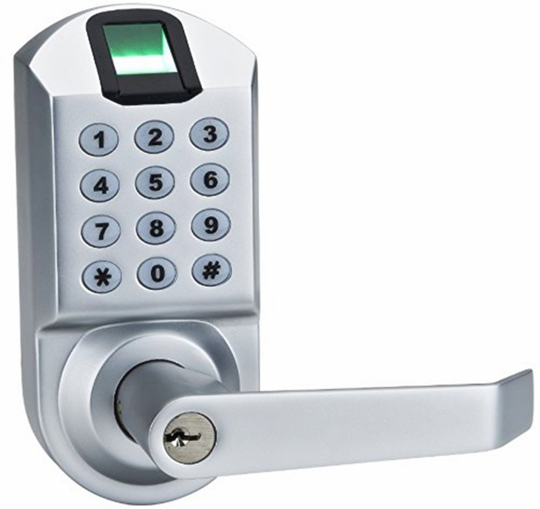 Ardwolf A1 No Drills Needed Keyless Keypad Biometric Fingerprint Door Lock, Unlock with Fingerprint Key Password - Satin Chrome by Ardwolf