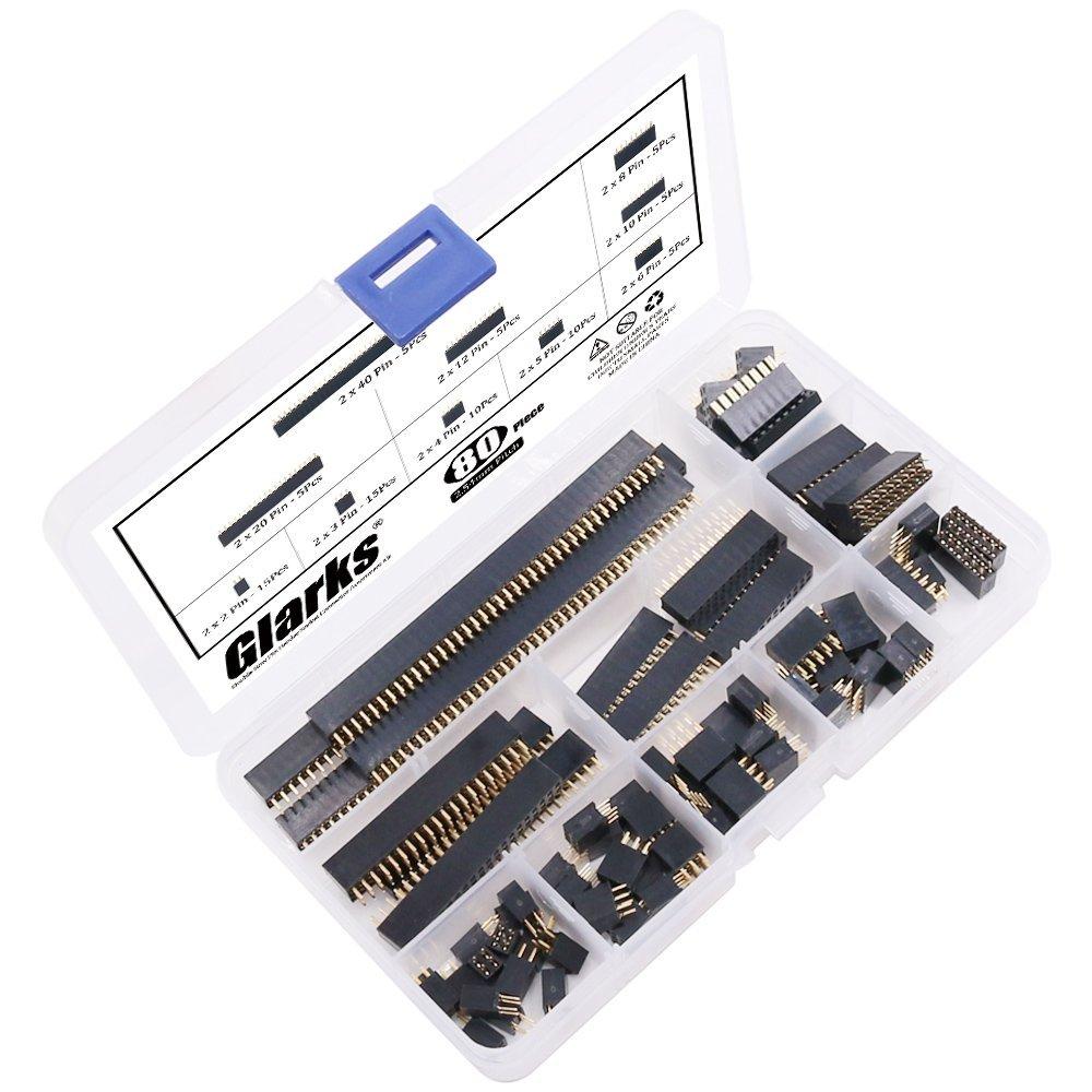 Glarks 80Pcs 2.54mm Straight Double Row Female Pin Header Socket Connector Strip Assortment Kit for Arduino Prototype Shield Double Row
