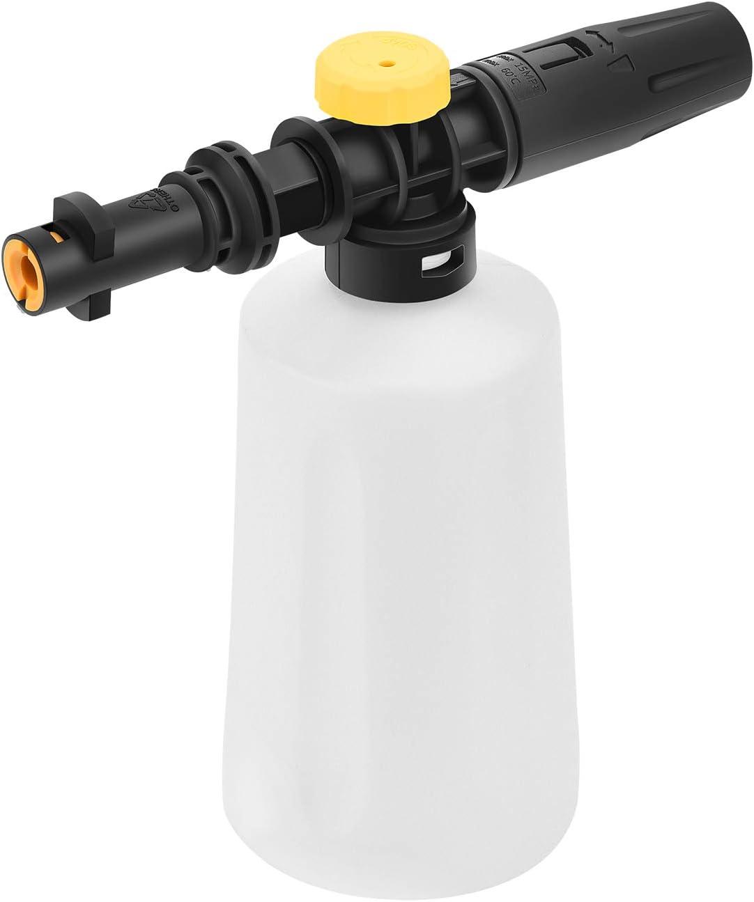 MOPEI El cañón de espuma de nieve se adapta a la lavadora a presión Karcher K2 K3 K4 K5 K6 K7, Boquilla Ajustable 1400-2100 PSI