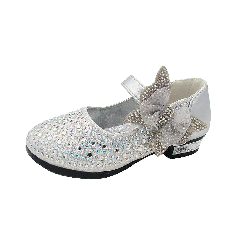0e217b4fcc82 Amur Leopard Kids Girls Mary Jane Shoes Diamond-Encrusted Bowknot Dance  Wedding Princess Shoes(