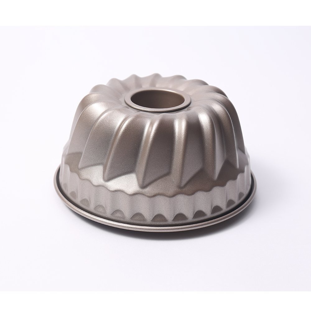 MZCH 7 inch Non-stick Bundt Pan, Heavy-duty Carbon Steel Fluted Tube Pan, FDA Approved, Champagne Gold