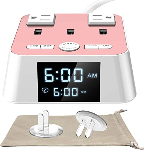 Alarm Clock with USB Charger – Alarm Clock Charging Station Dock with 3 USB Charging Ports and 2 AC Outlets Surge Protector, 6ft cord UL Listed, Bedside USB Alarm Clock For Home Bedrooms Dorm Hotel
