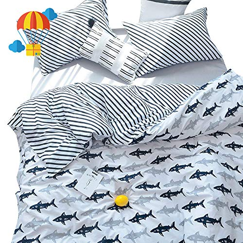 BuLuTu Navy Blue/Grey Shark Print Pattern Cotton US Queen Bedding Duvet Cover Sets(1 Duvet Cover 2 Pillow Shams) White for Kids Boys Full Quilt Bedding Sets with 4 Corner Ties Wholesale (Bedding Quilts Childrens)