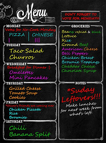 Menu Meal Planner Dry Erase Magnetic for Refrigerator. 3 YEAR WARRANTY - MONDAY thru SATURDAY Chalkboard Style