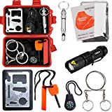 Survival Kit EMDMAK Outdoor Emergency Gear Kit for Camping Hiking Travelling or Adventures (New Red)