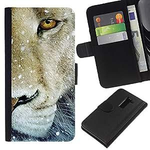 Planetar® Modelo colorido cuero carpeta tirón caso cubierta piel Holster Funda protección Para LG G2 D800 ( León de la nieve de invierno Animal Rey Naturaleza )