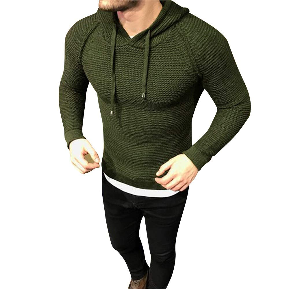 Dacawin Big Promotions-Popular Men's Knit Hoodie Pullover Bodycon Casual Solid Sweaters Hooded Top by Dacawin
