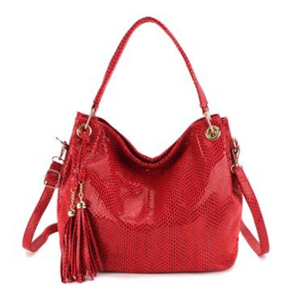 Yardar Women Hobos Tote Bags Leather Handbags Tassel Crossbody Shoulder Bag Red Handbags