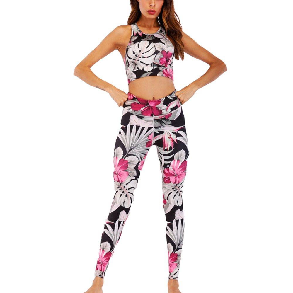 2018 New Women's Sexy Print Backless Camis Sportwear Green Crop Tank Top Vest + Yoga Gym Active Wear Leggings Suit Set (L, Pink)
