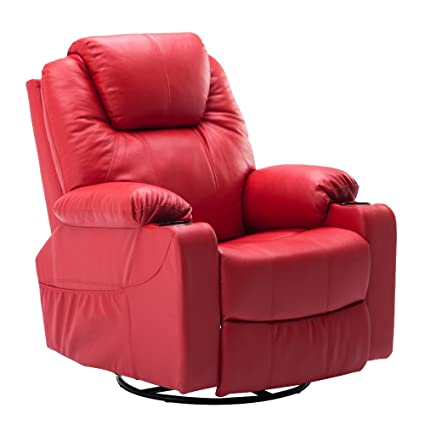 MCombo 8031 Modern Massage Recliner Vibrating Sofa Heated Electric Leather  Lounge Chair, Red