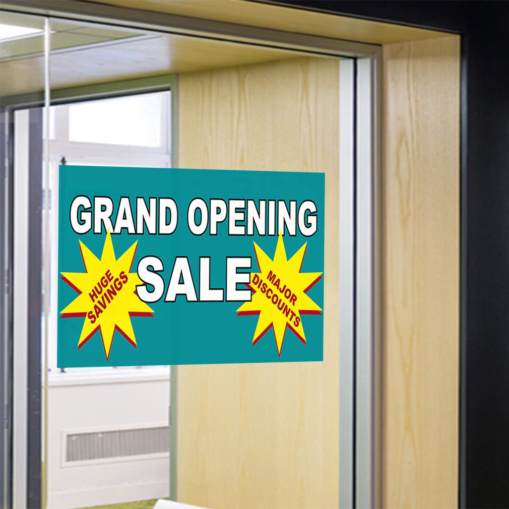 Decal Sticker Multiple Sizes Grand Opening Sale Huge Savings Major Discounts Blue Grommets Business Grand Opening Outdoor Store Sign White