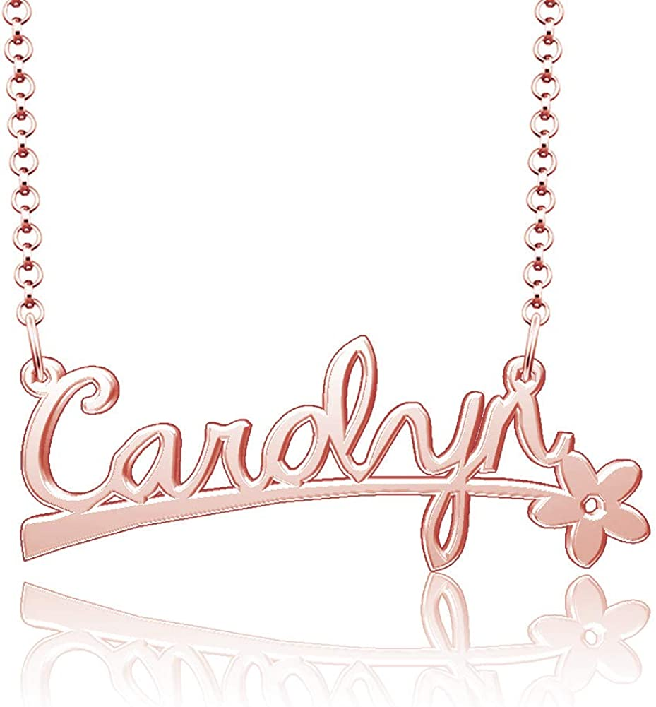 Infinite Memories Carolyn Name Necklace Personalized Nameplate Custom Flower Pendant 925 Sterling Silver