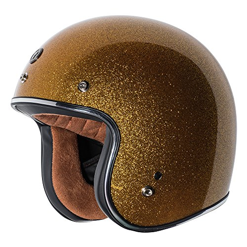 TORC Unisex-Adult Open-face Style (T50 Route 66) 3/4 Motorcycle Helmet with Solid Color (Gold Metallic), X-Large)
