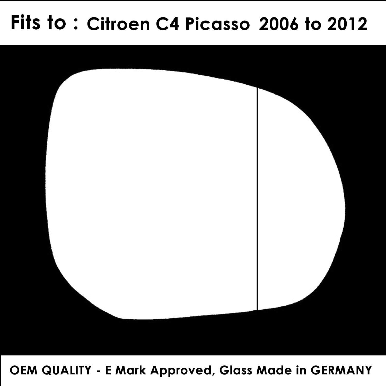 Citroen C4 Picasso 2007,2008,2009,2010,2011,2012,2013 Silver Aspheric Wing//Door Mirror Glass RH Driver Side