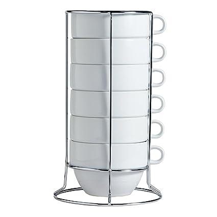 Amazon.com   White Stacking Jumbo Mugs with Stainless Rack Set of 6 ...