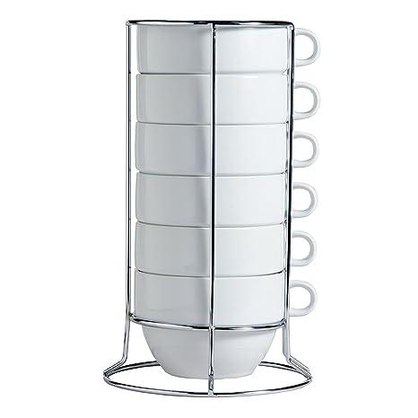 Amazon.com | White Stacking Jumbo Mugs with Stainless Rack Set of 6 ...