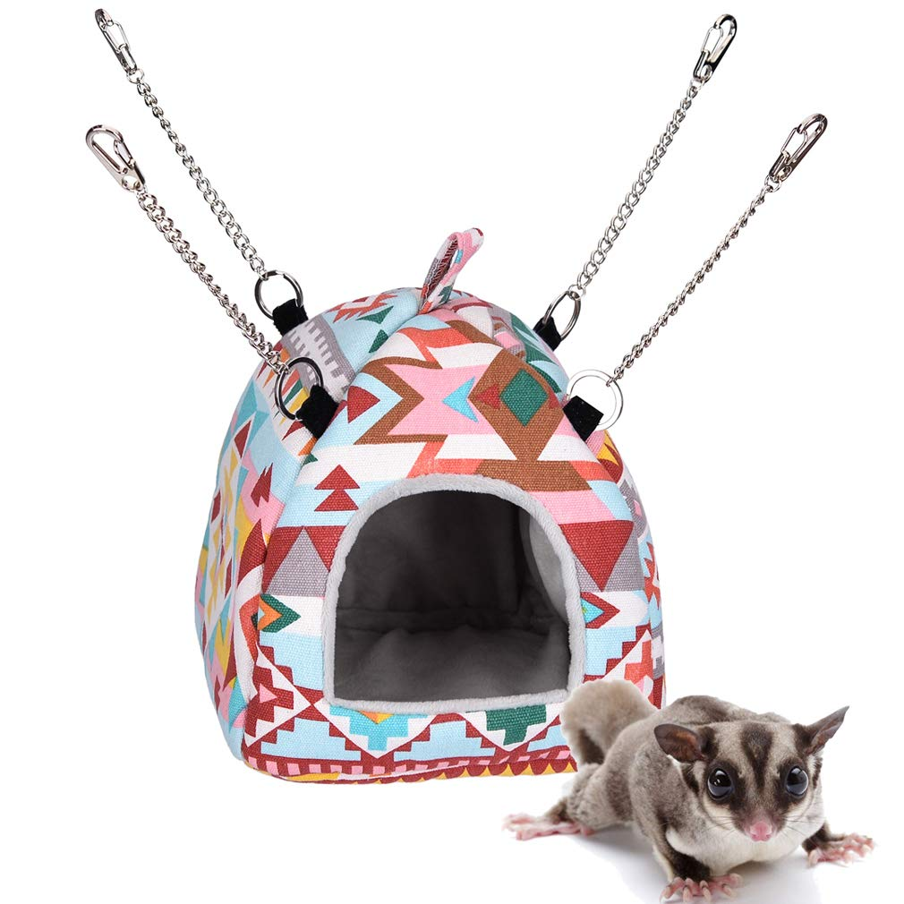 Hamster Tent Bed House,Guinea pigs Habitat Cave Hanging Hut,Hedgehog Winter Cage Nest,Warm Fleece Sleeping Bed Cube for small parrot Sugar Glider Squirrel Chinchilla Rat Rabbit (M, Pink Ethnic Style)