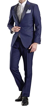 3241c6aa32d5d パーティーフォーマルスーツ タキシード ピークドラペル1ツ釦スーツ A4:ブルージオメトリックBR02