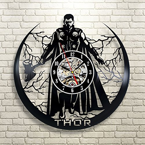 - Thor Wall Clock 12 in(30cm) Black Decor Modern Decorative Vinyl Record Wall Clock This Clock is A Unique Gift to Your Friends and Family for Any Occasion ...