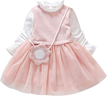 Toddler Baby Kids Girls Ruffles Cotton Ruched Princess Dresses Casual Clothes