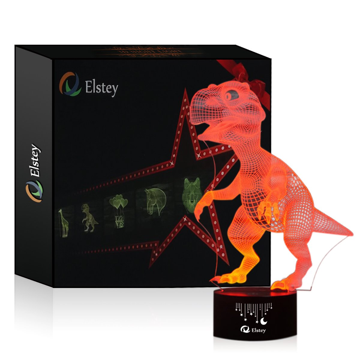 Dinosaur 3D Night Light Touch Table Desk Lamp, Elsley 7 Colors 3D Optical Illusion Lights with Acrylic Flat & ABS Base & USB Cabler for Christmas Gift by Elstey (Image #5)