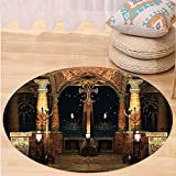 VROSELV Custom carpetGothic House Decor Dark Mystic Ancient Hall with Pillars and Christian Cross Dome Shrine Church for Bedroom Living Room Dorm Red Brown and Black Round 79 inches