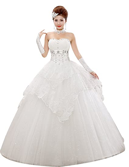 c2ce13bf3e2d Eyekepper Strapless Cake Layer Wedding Dress Prom Gown Bride Custom Size at  Amazon Women's Clothing store: