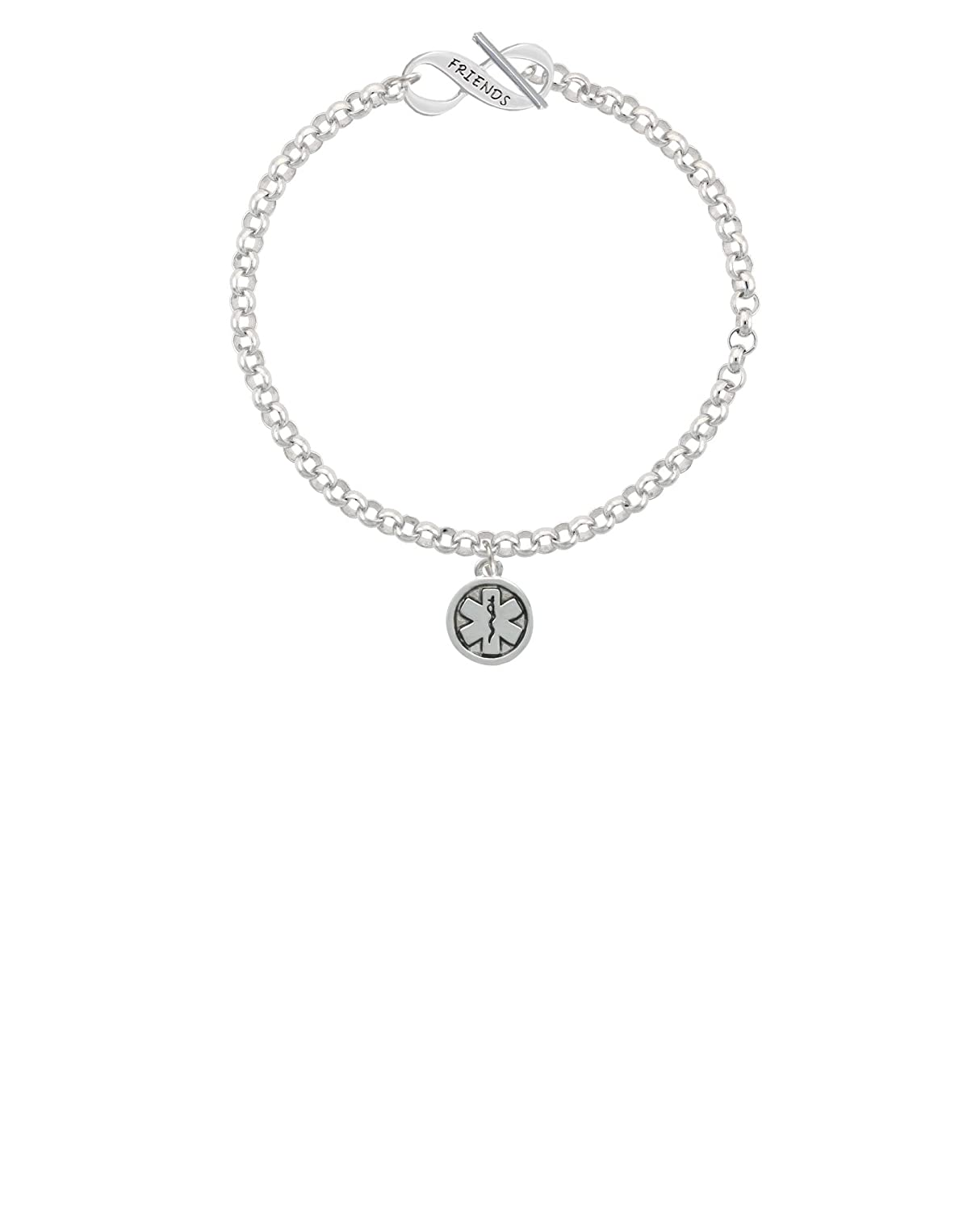 Silvertone Round EMT Star of Life Friends Infinity Toggle Chain Bracelet 8
