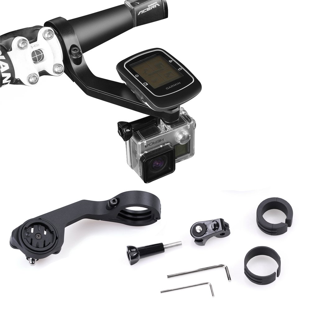 Koroao Sports Bike out-front Mount Set For Garmin Edge 25 200 500 510 520 800 810 1000 GPS and Gopro Hero and Sony Action Cameras (Black, For Gopro Hero 2 3 3+ 4)