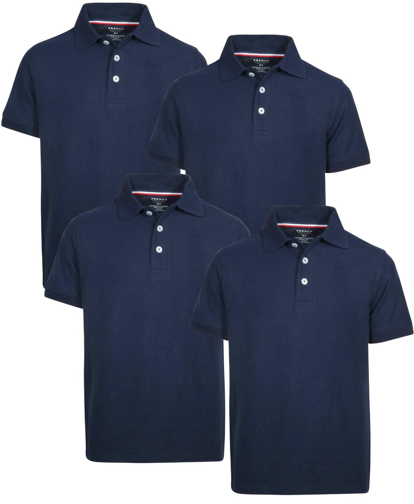 French Toast Boys Short Sleeve Uniform Polo Shirt - 4 Pack, Navy, Size Large' by French Toast (Image #1)