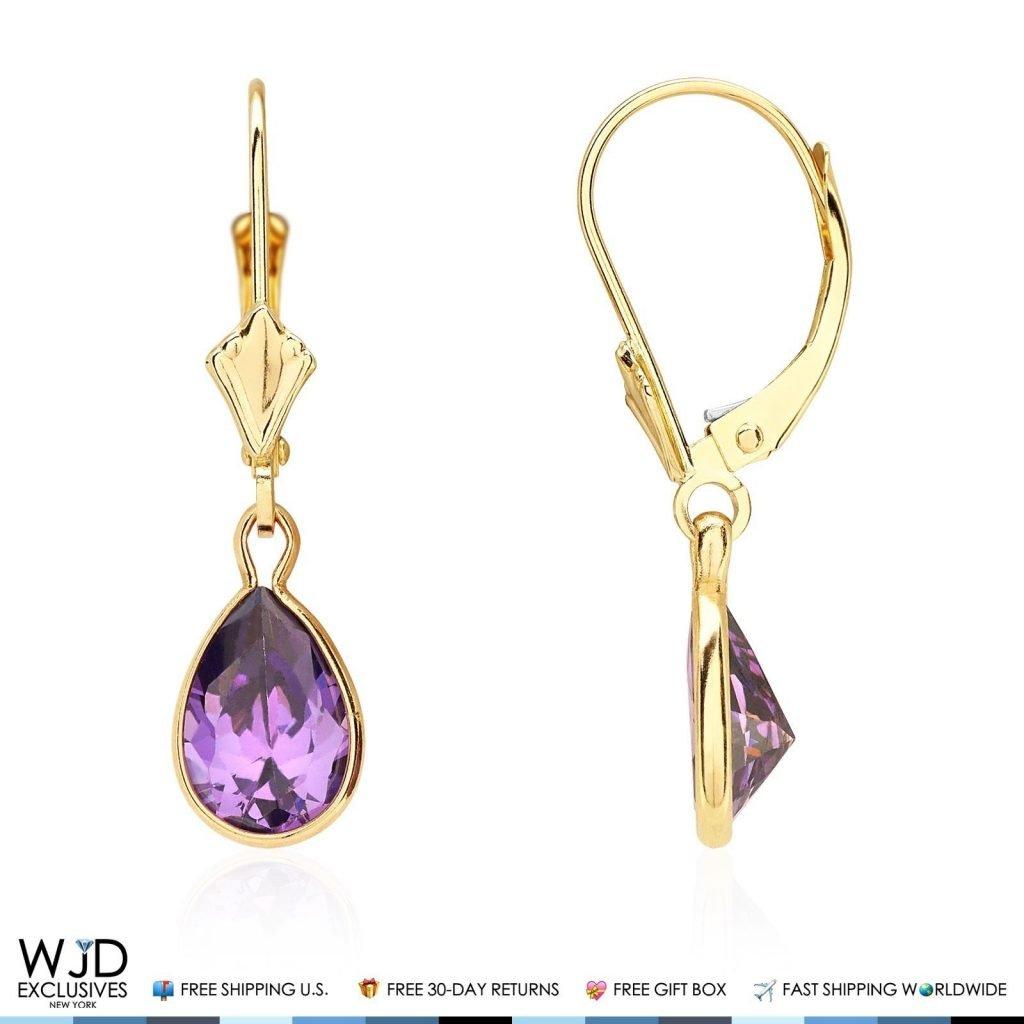 14k Yellow Gold Teardrop Bezel Birthstone Dangle Leverback Earrings 1'', Amethyst by WJD Exclusives (Image #1)