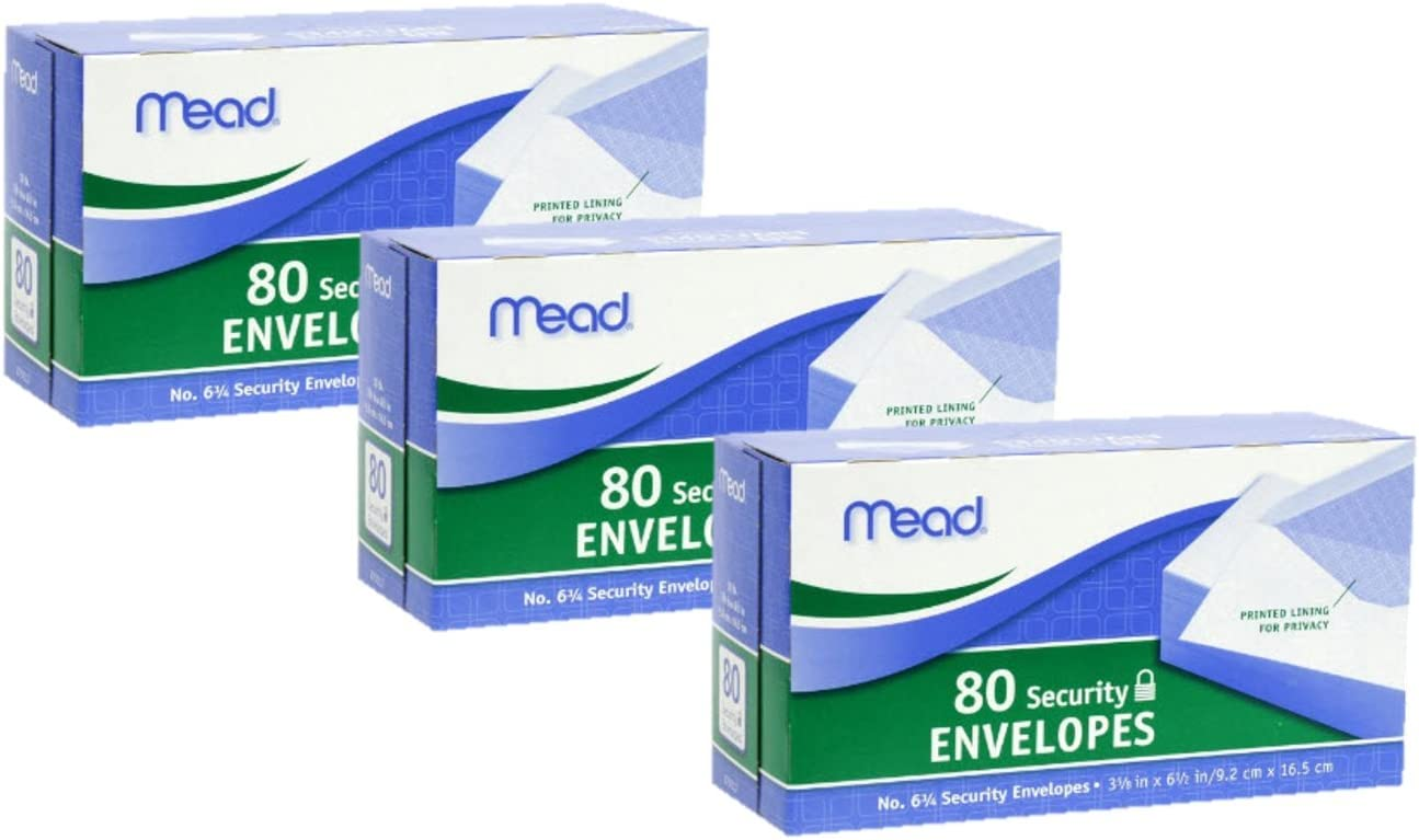 75212 Pack Of 2 Free Shipping New Mead #6 3//4 Security Envelopes 80 Count