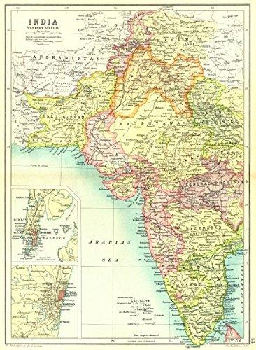 Madras India Map.Amazon Com West India Inset Mumbai Bombay Chennai Madras Showing