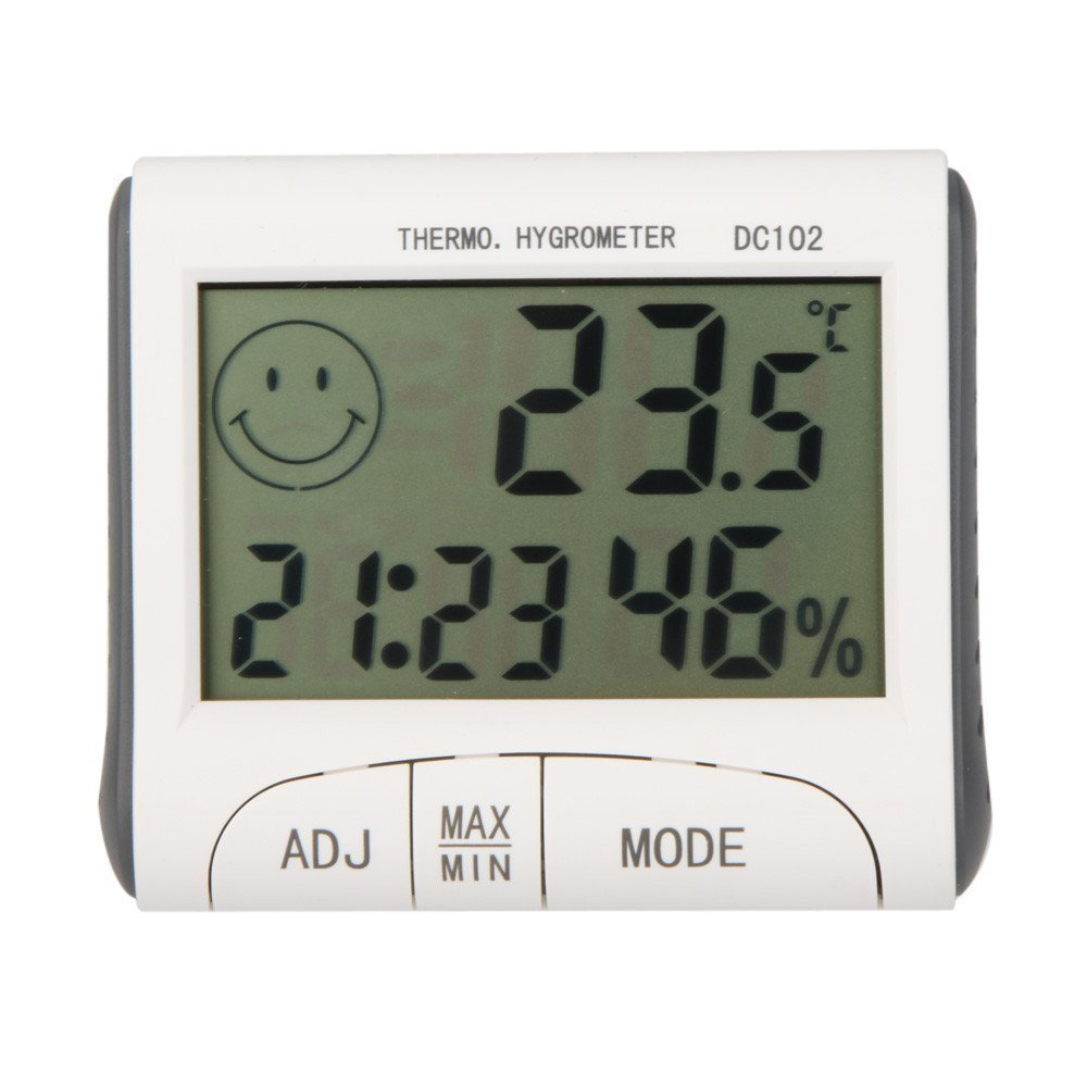 Gellvann LCD Room Thermometer Mini LCD Digital Indoor Thermometer Hygrometer Temperature Humidity Meter Clock Desk Weather Station With Magnetic Stand TopXun