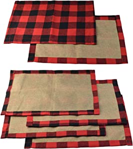 6 Pcs Red and Black Buffalo Check Placemats Plaid Placemats, Checkered Washable Place Mats, Topbuti Reversible Cotton Burlap Resistant Table Mats for Christmas Holiday Table Home Party Decoration
