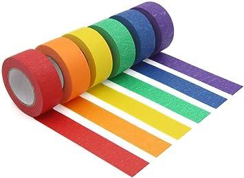 Amazon Com Cinta Adhesiva De Colores Cinta De Pintores De Colores Para Artes Y Manualidades Etiquetado O Codificación Suministros De Arte Para Niños 6 Rollos De Diferentes Colores Cinta Adhesiva