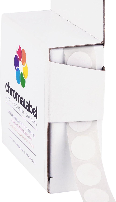 ChromaLabel 1/2 Inch Round Permanent Color-Code Dot Stickers, 1000 per Dispenser Box, White