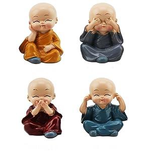 TATEELY 4Pcs/Set Car Ornaments Resin Monks Maitreya Buddha Kung Fu Buddhism Figure Doll Gift Auto Dashboard Decoration Pendants Charms Toy Gift