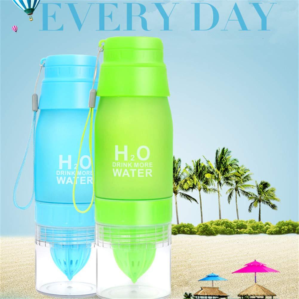 KYONNE H2O - Botella de Agua para infusor de Frutas, limón, exprimidor de cítricos, Taza portátil, plástico sin BPA, a Prueba de Fugas, 650 ML, ...