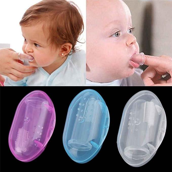 Mengonee Masajeador de goma suave infantil de los dientes del cepillo de dientes del dedo del bebé con la caja: Amazon.es: Bebé