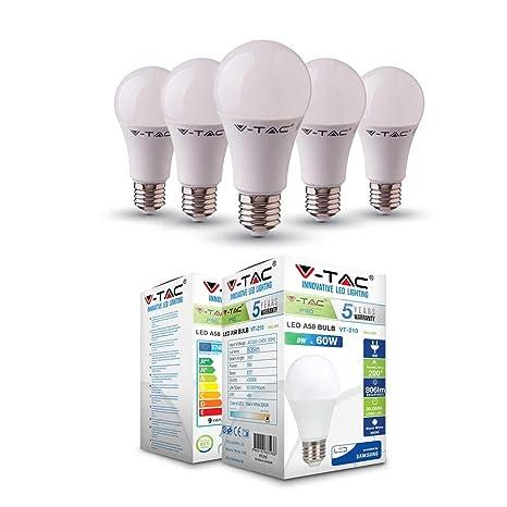 V-TAC - Bombilla LED termoplástica A58 de ahorro de energía con chip Samsung E27