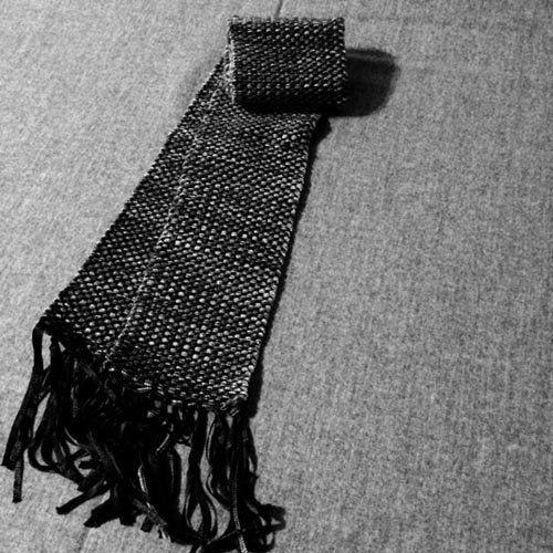Handwoven Scarf, Womens, Merino Wool and Ribbon Yarn. Black and White