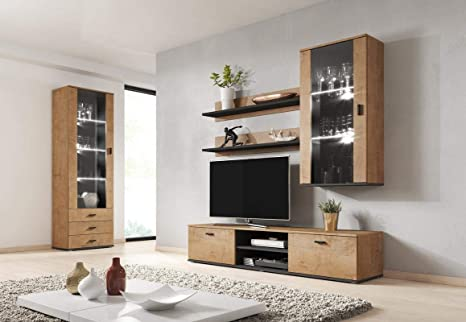Amazon.com: Meble Furniture & Rugs Soho 6 Modern Wall Unit ...
