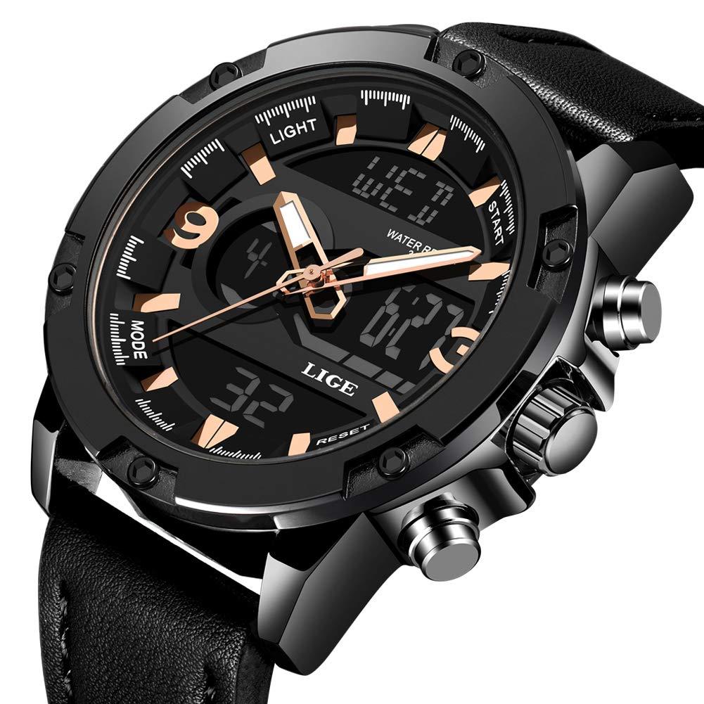 Men s Watches Sports Analog Digital Quartz Watch Waterproof Casual Wristwatch Dual Time Display Army Watch Stopwatch for Men Black