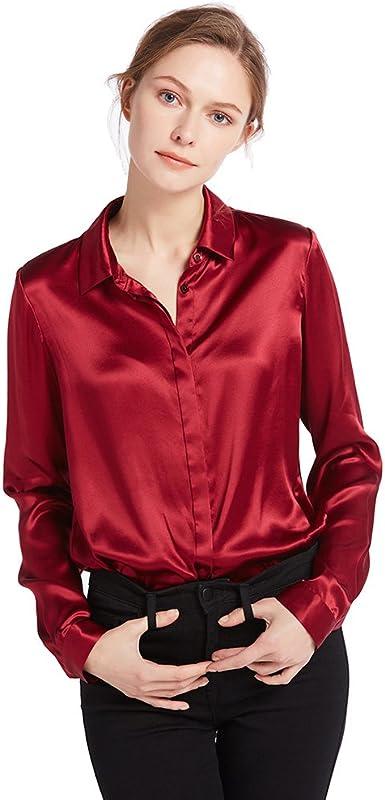 LILYSILK Camisa Mujer de 100% Seda de 22Momme con Botones Estilo Clásico, Rojo Vino, Talla XL: Amazon.es: Ropa y accesorios